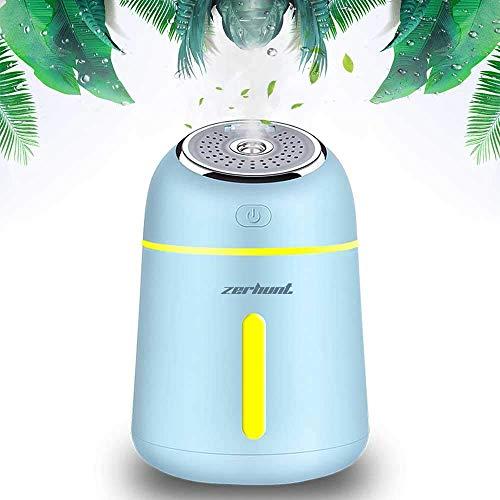 Zerhunt Mini Luftbefeuchter Ultraschall, 330ml Vernebler Atomization Elektrisch Ätherisches Aromatherapie mit USB Aufladen, für Schlafzimmer Yoga Büro(Blau)