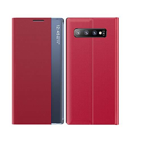 Mking Tech Funda de Cuero con Tapa para teléfono Inteligente para Samsung Galaxy S 10+. 10 / Mix 3/8/11/12 / Redmi Note 8 T / K30 / 7A / X Flip/Suspend/Wake Up/Smart Funda de Cuero-Rojo