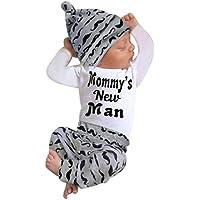 BHYDRY Lindo 3 UNIDS Trajes ReciéN Nacido Bebé Chico Mameluco Tops + Pantalones Largos Sombrero Conjuntos Ropa 0-18M(Blanco,100)