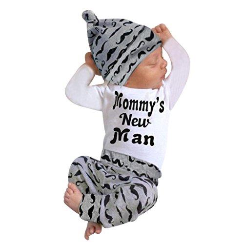 Neugeborenen Jumpsuits, Sunday Nette 3 STÜCKE Set Neugeborenen Jungen Strampler Tops + Lange Hosen Hut Outfits Kleidung 0-6 Monate(A-Weiß 3,0-3 Monate)
