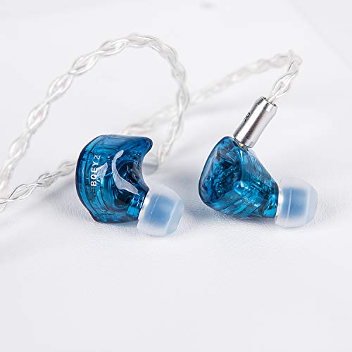 BQEYZ Summer HiFi in-Ear Monitor Earphones IEM Sound Isolating Balanced Sweeter Sounding Timbre with Detachable Cable (Blue)
