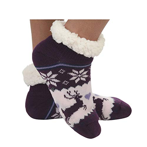 Snoozies Womens Sherpa Socks | Sherpa Footie Sherpa Socks for Women | Purple