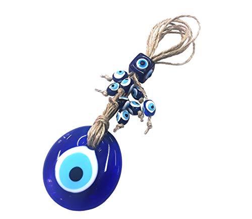 Perlin Nazar Boncuk Boncugu Türkisch Blau Evil Eye Wandbehang 18cm Ornament Amulett Dekoration Home Decor Schutz Segen Geschenk Glasperlen Anhänger für Auto Haus und Büro
