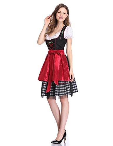Clearlove Dirndl 3 tlg.Damen Midi Trachtenkleid für Oktoberfest- Spitzen Kleid, Bluse & Schürze, Rot Karo, 42