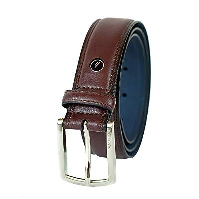 Nautica Men's Belt with Dress Buckle and Stitch Comfort, Burgundy, 36