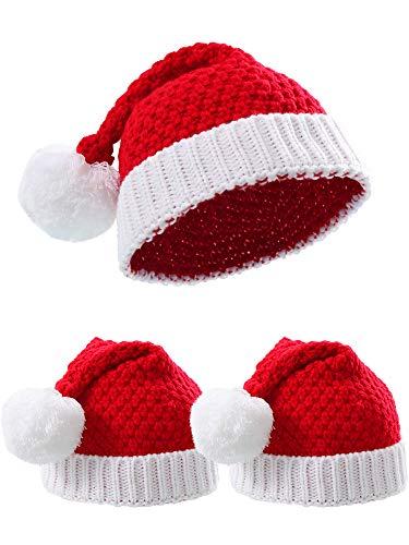 3 Stücke Rot Weiß Gestrickte Weihnachtsmütze Weihnachten Mütze Weihnachtsstrickmütze für den Winter (Kinder Größe)