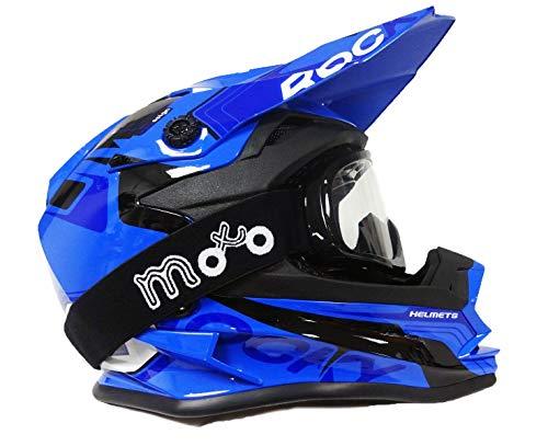 53-54 CM XL CASCO MOTOCROSS PER BAMBINO 3GO X10-K ENDURO ATV MX BMX QUAD ECE OMOLOGATO FUORISTRADA RAGAZZI RAGAZZECASCHI BLU CON OCCHIALI