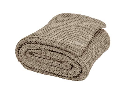 Nielsen Wohndecke Alen grob gestrickt, 150x200 cm, Sand, 100% Baumwolle, Strick, Grobstrick, Ökotex, Strickdecke, gemütliche modische Elegante Decke