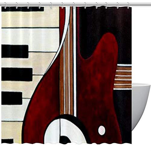 Duschvorhang mit Haken, Instrument, Musik, Pinano, Gitarre, Badezimmer, Stoffvorhänge, wasserdicht, lustig, Standardgröße 72 x 72