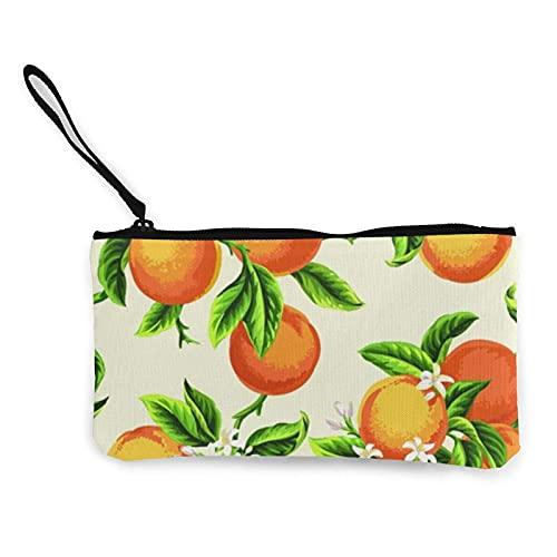 Porte-Monnaie en Toile de Fleurs Jaunes et de Fruits Orange, Pochette de Maquillage de Voyage, Sac de Caisse, étui à Crayons, Pochette Portefeuille