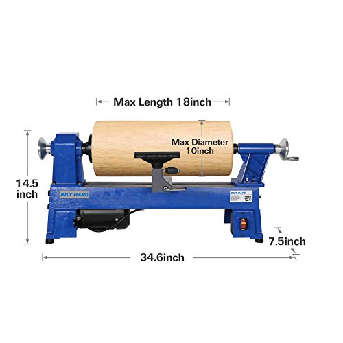BILT HARD 10 in. X 18 in. Wood Lathe, 7.5-Amp 1/2 HP Variable Speed Mini Benchtop Wood Lathe