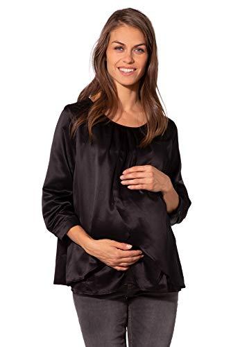 MAMARELLA Umstandsbluse festlich schwarz Gr. 40, Schwangerschaftsbluse mit Stillöffnung im Layering-Look, weich fallende Silhouette, für die Schwangerschaft und Stillzeit