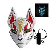 ハロウィーンマスク - フォックスフルフェイスマスク、 ネオンLEDハロウィン小道具 フェスティバルマスカレードパーティーのために、 カーニバルフェイスマスク メンズ・レディース・キッズのための,Ice blue