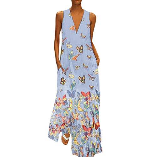 VEMOW Maxi-Kleider Elegantes Damen Langes Sommerkleid Kleid Cocktailkleid mit Schmetterlingsdruck Ärmellos Lose Beiläufige Party Langes Bodenlanges Abendkleid Ballkleid(Blau, 38 DE/L CN)