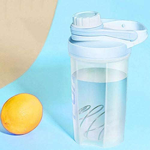 DDSPAL Fashion Sports Shake Cup Portable Fitness Cup Outdoor Hand Cup Milkshake Cup High Temperature PC Material 304 Stainless Steel Stirring Ball (Color : Blue)