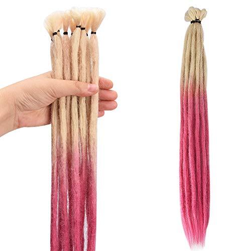 Noverlife 10PCS 50cm Extensiones Dreadlock rosadas a rubias, Accesorios de rastas sintéticas de ganchillo de un solo extremo, Jamaica Punk Hip-Hop Reggae Pelucas de trenzas para el cabello Faux Locs