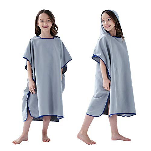 YINHANG Toalla de baño para niños, con capucha, poncho de ducha, para surf, traje de baño de secado rápido, toalla de playa para niños y niñas (gris)