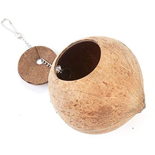 Nihlsfen Casa de Nido de pájaro con cáscara de Coco Natural, Cama para Mascota, Loro, Periquito, cacatúa, Canario, pinzón, Jaula
