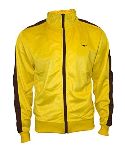 ROCK-IT Apparel® Herren Track Jacket - stylische und hochwertige Retro Style Trainingsjacke - Tracktop - Sweater Jacke - Größen S-XXXL - Farbe Gelb Braun XXXL