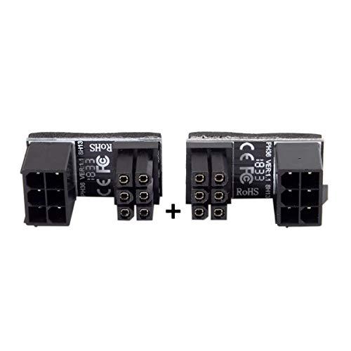 Cablecc ATX 6-polige Buchse auf 6-polige Stecker, 180 Grad abgewinkelt, für Desktop-Grafikkarte