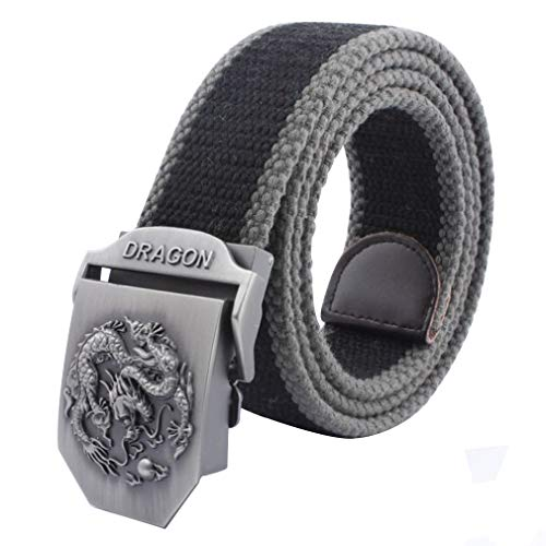 LKMY Mens Belts, Mens Nylon Canvas Belt Metal Buckle Chinese Dragon Adjustment- Sturdy and Versatile- for Jeans | Chinos | Weekday (heihui)