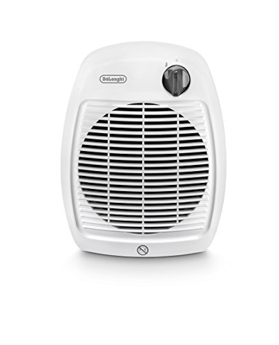 DeLonghi HVA 1120 Calefactor Vertical 2000W Doble Aislamiento, asa integrada, Seguridad, termostáto de Ambiente Ajustable, función antihielo, protección antigoteo IP21. Color Gris y Blanco.JP20