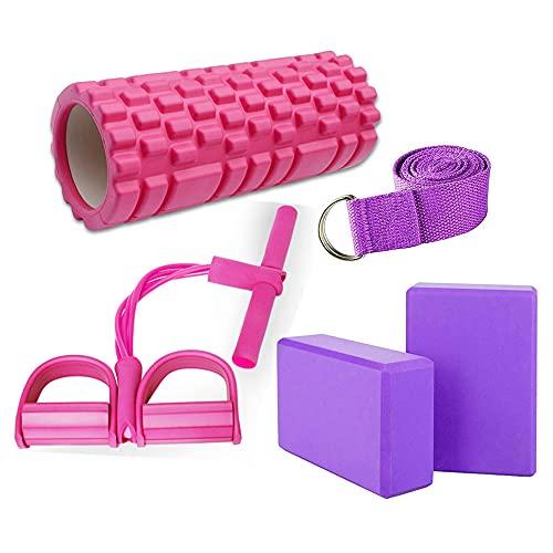 Smallrun Columna Yoga Cuerda de Tensión Multifunción Bloques de Yoga EVA Bloque Yoga para Yoga, Pilates Bloque de Espuma EVA Banda Yoga (Kit-Columna)