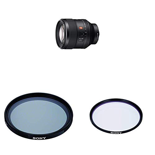 Sony SEL-85F14GM G Master Porträt Objektiv (Festbrennweite, 85 mm) schwarz + VF-77CPAM2 Mehrfach beschichteter Schutzfilter, Polfilter 77mm + Sony VF77MPAM.AE Carl Zeiss T* Schutzfilter (77mm)