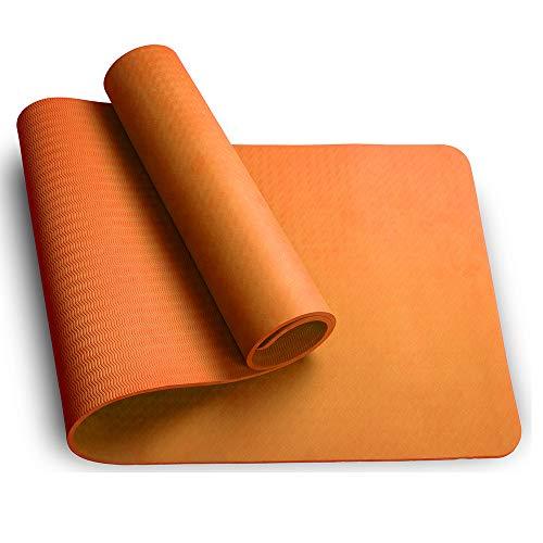 Sosila Yogamatte, TPE, ECO Gymnastik Matte, rutschfest, umweltfreundlich, hypoallergen und hautfreundlich, ideal für Yoga, Pilates und Fitness, mit Tasche und Trageband, 183 x 61 x 0,8 cm (Orange)