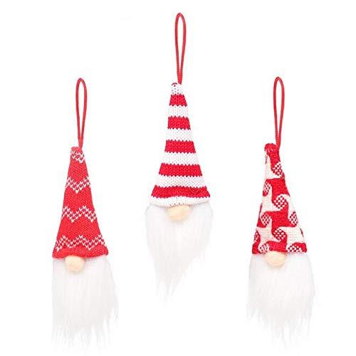 Pstarts Christmas Tree Hanging Gnomes Ornaments Set of 3, Swedish Handmade Plush Gnomes Santa Elf Hanging Home Decorations Holiday Decor