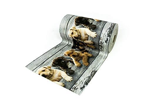 BIANCHERIAWEB Tappeto Passatoia Antiscivolo con Stampa Digitale Dis. Cani Legno 50x180 Cani Legno