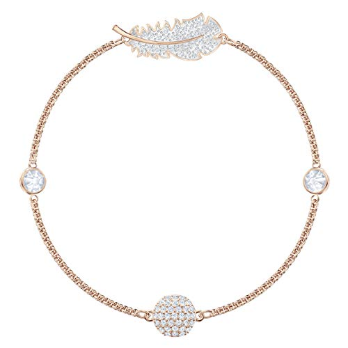 Swarovski Remix Collection Feather Strand, Bianco, Placcato Oro Rosa