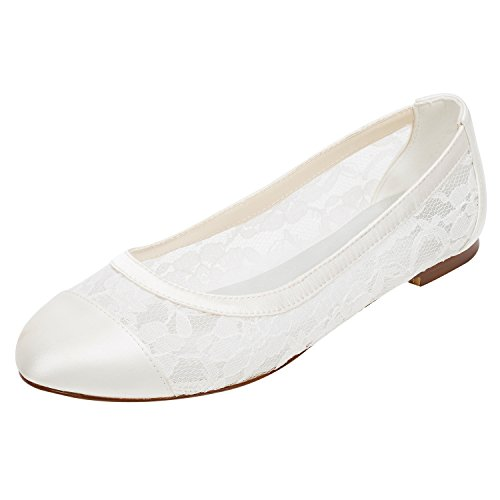 Emily Bridal Zapatos de Boda de Encaje Bombas de Marfil Planas Zapatos...