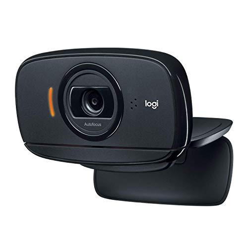 Logitech C525 - Webcam portátil HD con enfoque automático rápido y diseño giratorio de 360 grados, color negro
