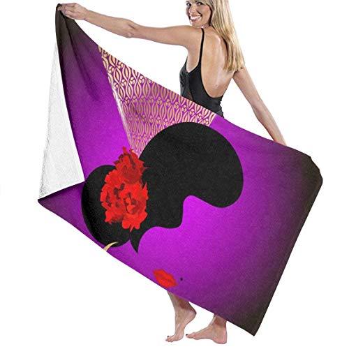 Toalla De Baño Manta,Toallas De Playa Grandes,Hermoso Retrato De Silueta De Mujer Española con Flores De Rosas Rojas Y Peine Español Tradicional,Toalla De Baño,130X80CM,Toalla De Playa Absorbente