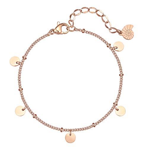Happiness Boutique Damen Kreis Armband Rosegold Runde Plättchen Anhänger Armkette
