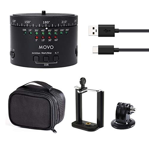 Movo Photo MTP-11 Motorized Panoramic Time Lapse Tripod Head with Variable Speed, Time and Direction with Built-in Rechargeable Battery - Perfect DSLR Cameras, GoPro and Smartphone Timelapse Rotator