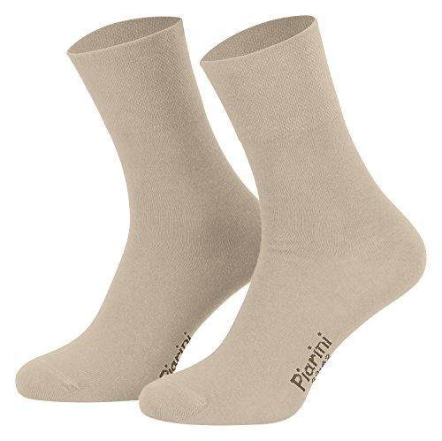 43-46 - 8 Paar Business Socken, Anzugsocken ohne Gummibund Baumwolle - Herren Damen - 8er Pack - beige