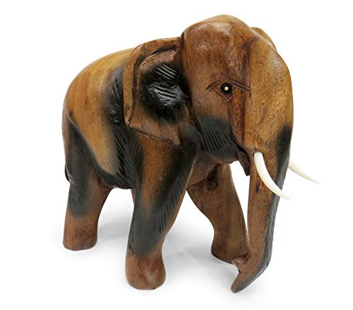 Purity Style Wooden Elephant Ornament Carved Walking (Large 22cm)