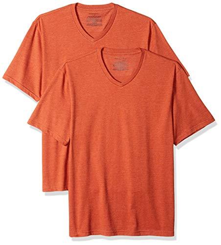 Amazon Essentials 2-Pack Loose-Fit V-Neck fashion-t-shirts, Orange (Orange Heather Ora), M