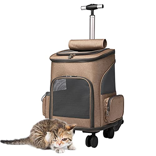 DUTUI Maleta con Ruedas para Gatos, Mochila para Gatos, Mochila para Excursiones para Gatos, Mochila Escolar Portátil De Viaje para Gatos, Maleta Ajustable