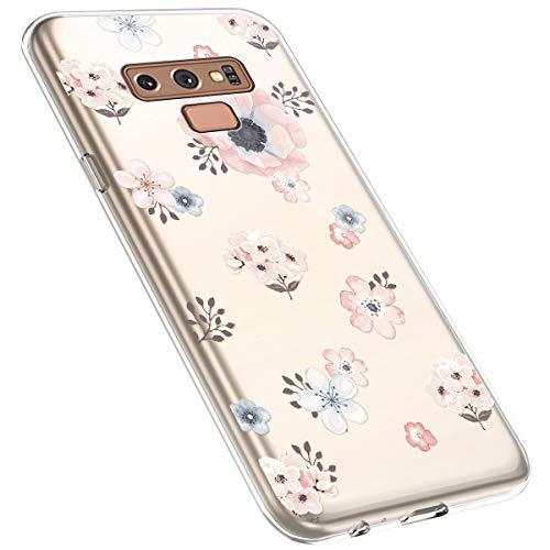 MoreChioce kompatibel mit Samsung Galaxy Note 9 Hülle,kompatibel mit Galaxy Note 9 Hülle Transparent,Kreativ Muster Kratzfest TPU Flexible Weiche Silikon Handyhülle Flexible Gel Bumper,Blume #7