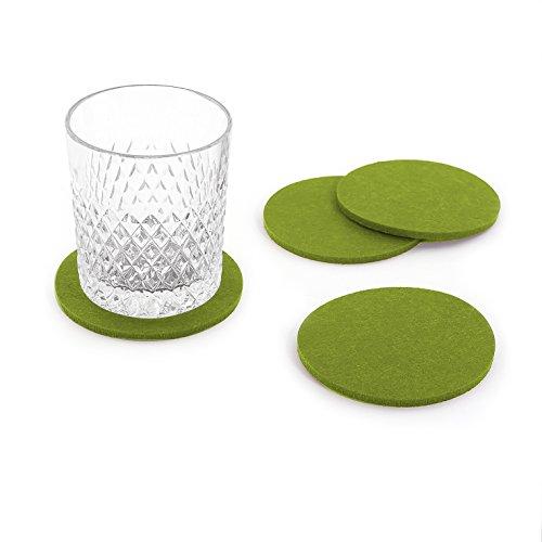 Oblique-Unique® Filzuntersetzer rund 4er Pack für Tisch und Bar - Glasuntersetzer Untersetzer aus Filz (Grün)
