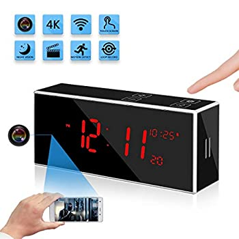 Hidden Spy Alarm Clock Camera with Stronger Night Vision YuanFan Full Hd1080P Wireless WiFi Smart Nanny Cam Motion Detection 160°Wide-Angle Fisheye Lens IP Remote Security Surveillance Camera