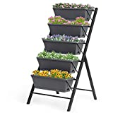 Giantex Vertical Raised Garden Bed, Elevated Planter Raised Beds with Water Drainage, Freestanding 5 Container Boxes for Vegetables and Flowers Growing, Outdoor Indoor Patio Balcony