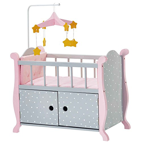 Olivia's Little World TD-0206AG - polka dots Princess 18 inch Doll Furniture - baby Nursery bed met Cabinet