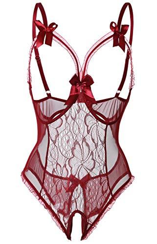 Acramy Damen Babydoll Dessous Rückenfrei Lingerie Bodysuit Reizwäsche Netz (S, Rot)