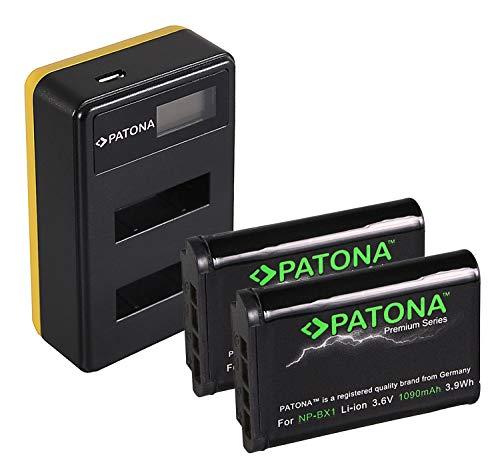 PATONA Cargador Doble LCD con 2X NP-BX1 Bateria Premium Compatible con Sony CyberShot DSC RX100 RX1r HX50V WX300