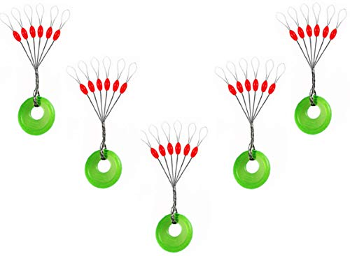 Milepetus 300/600 Pcs Goma Tapón Corcho Pesca 6 en 1 Flotador Sinker Paradas Negro Oval Float Detener (Black-Oval, L (300pcs)) (Red-Oval, S (300pcs))