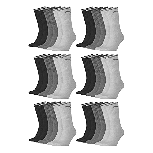 PUMA Calcetines deportivos unisex para hombre y mujer, deportivos, 6 unidades, tallas 35-38, 39-42, 43-46, 47-49, color negro, blanco y gris gris antracita / gris 39-42